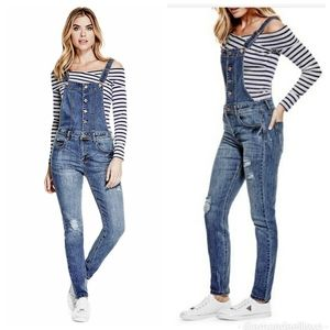 Guess Aviana Button Down Distressed Jean Dungaree